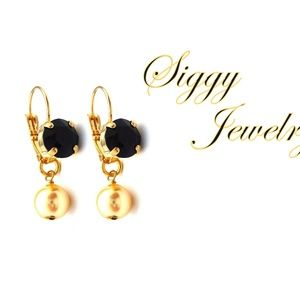 Swarovski® Black and Gold Pearl Crystal Earrings
